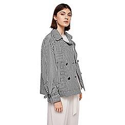 Mango - Black check print 'Taba' trench coat