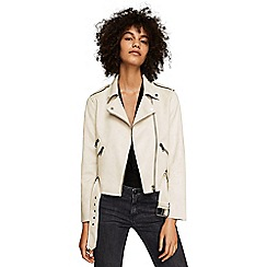Mango - White 'Seul' zipped biker jacket