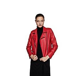 Mango - Red 'Liz' biker jacket