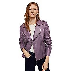 Mango - Purple leather 'Sandy' biker jacket