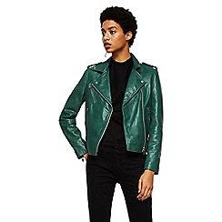 Mango - Green leather 'Sandy' biker jacket