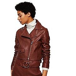 Mango - Brown leather 'Bag' biker jacket