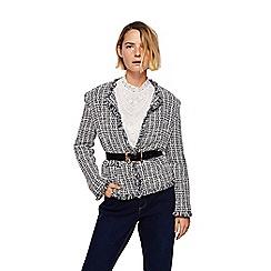 Mango - Black and white frayed trim 'Balboa' jacket