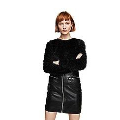 Mango - Black textured 'Annie' long sleeve sweater