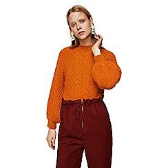 Mango - Orange cable knit 'Wisdom' long sleeve oversize sweater