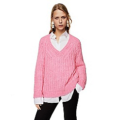 Mango - Pink cable knit 'Petalo' v-neck long sleeve oversize sweater