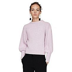Mango - Mauve 'Arce' puffed long sleeve ribbed sweater