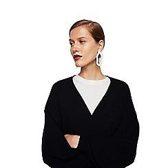 Mango - Black 'Clean' puffed long sleeve oversize cardigan