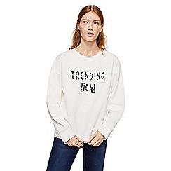 Mango - White printed 'Pearl' long sleeve sweatshirt