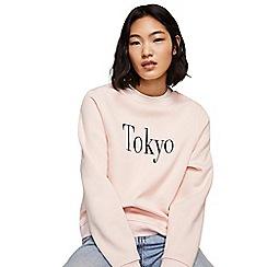 Mango - Pale pink 'Tokyo' long sleeve sweatshirt