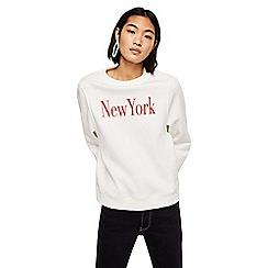 Mango - White 'New York' long sleeve sweatshirt