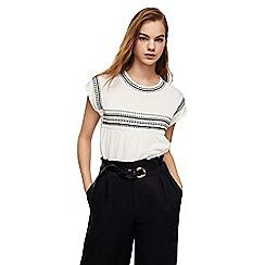 Mango - White embroidered linen blend 'Just' t-shirt