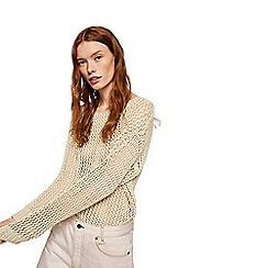 Mango - Cream 'Camo' open knit jumper