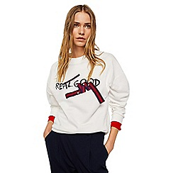 Mango - White message print 'Cinch' sweatshirt