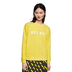 Mango - Yellow message print 'Basique' oversized sweatshirt