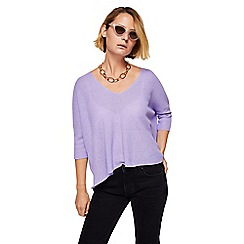 Mango - Purple 'Ines' v-neck oversized sweater