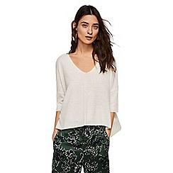 Mango - Cream 'Ines' v-neck oversized sweater