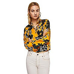 Mango - Yellow floral print 'Jaipur' flared sleeve shirt