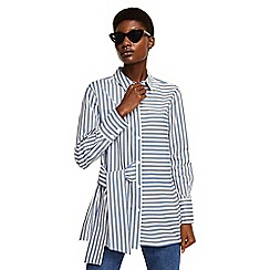 Mango - Blue stripe print 'Knot' button down collar long sleeve shirt