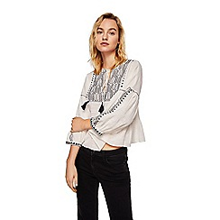 Mango - White embroidered 'Contrast' top