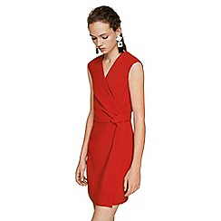 Mango - Red 'Indi' v-neck mini wrap dress