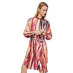 Mango - Orange printed 'Rachel' high neck long sleeve knee length dress
