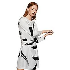 Mango - White contrast print 'Dota' mini dress