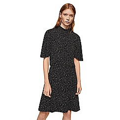 Mango - Black printed hight neck knee length dress