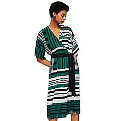 Mango - Green striped 'Soller2' v-neck knee length wrap dress