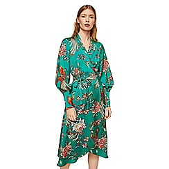 Mango - Green floral print 'Buble' v-neck midi wrap dress