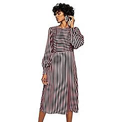 Mango - Pink striped 'Sansa' long sleeve midi dress