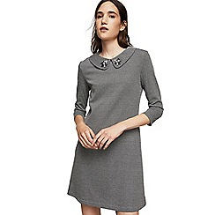 Mango - Grey micro houndstooth print 'Ponjoya' mini dress