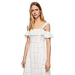 Mango - White pure linen 'Riviera' cold shoulder dress