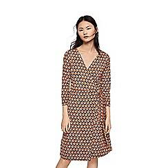 Mango - Multi-coloured geometric print v-neck knee length wrap dress