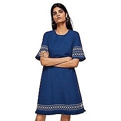 Mango - Blue embroidered denim 'Indie' knee length dress