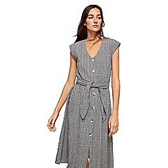 Mango - Grey checked cotton blend 'Sidebow' v-neck knee length dress