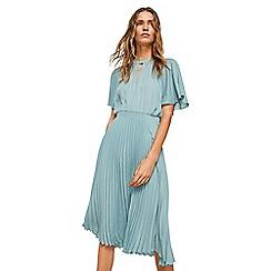 Mango - Blue pleated 'Plise' dress