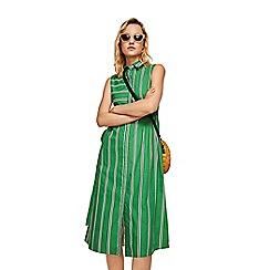 Mango - Green stripe print 'Tuti' midi length shirt dress
