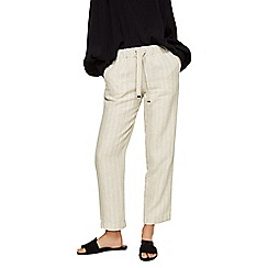 Mango - Cream striped pure linen straight fit trousers