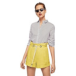 Mango - Yellow pure linen 'Grill' shorts