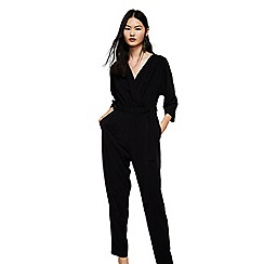Mango - Black 'Oxford' v-neck wrap jumpsuit