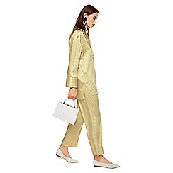 Mango - Yellow printed satin 'Andres' pyjama style trousers
