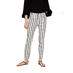 Mango - White striped 'Cola' slim fit cropped trousers