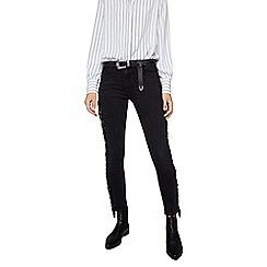 Mango - Black fringed 'Flecos' skinny jeans