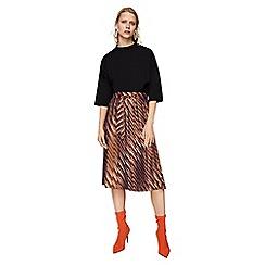 Mango - Orange striped 'Ptcatena' midi skirt