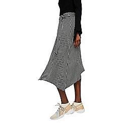 Mango - Black check print 'Monaco' midi asymmetric skirt