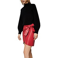 Mango - Red 'City' bow wrap mini skirt