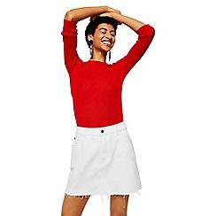 Mango - White 'Musthave' mini denim skirt