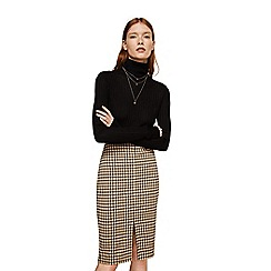 Mango - Natural check print cotton blend 'Gales' knee length pencil skirt