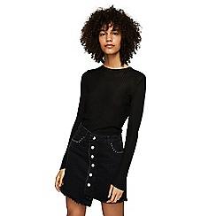 Mango - Black denim 'Studs' mini skirt
